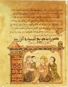 f. 22r. Image of Bayad together with the women in the house, while delivering the letter of Riyadh