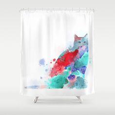 Shower Curtains, Art Shower Curtain Bathroom Bath Cat 609 blue red pink aqua Home Decor L.Dumas by artbyLucie on Etsy