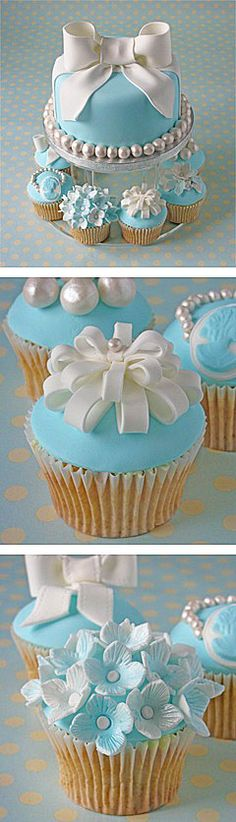 exquisite blue cupcakes perfect for an elegant blue wedding www.finditforweddings.com