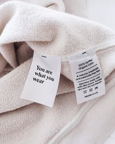 Clean Essentials made with GOTS certified Organic fabrics and low-impact dyes. Tag Design, Label Design, Packaging Design, Branding Design, Boutique Interior, Clothing Packaging, Marca Personal, Clothing Labels, Pretty Words