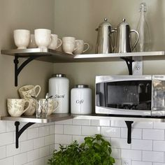 Making the most of open shelves. Metal isn't just for the garage. www.homeaircheck.com