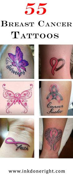 55 Breast Cancer Tattoo Pictures Breast Cancer Tattoos Breast cancer tattoos are a symbol of resistance and support. It doesn't matter if the wearer has cancer themselves, or if they are honoring a loved one! Cancer Survivor Tattoo, Cancer Awareness Tattoo, Breast Cancer Tattoos, Cancer Ribbon Tattoos, Breast Cancer Survivor, Cancer Ribbons, Pink Ribbon Tattoos, Band Tattoos, Delicate Tattoo
