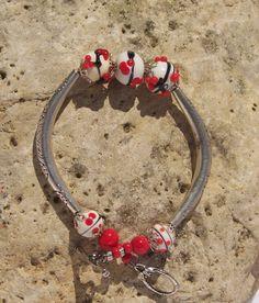 OOAK  BLACK and RED Bracelet by blingo10 on Etsy