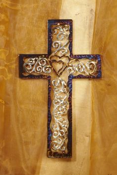 The Life Wall Cross by David Broussard is the ideal wedding or anniversary gift. The two hearts in the center are joined together and in Christ their love grows Wooden Crosses, Wall Crosses, Handmade Wedding Gifts, Sign Of The Cross, Wedding Cross, First Time Moms, Star Of David, Metal Art, Wood Crafts
