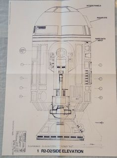 Original 1977 Star Wars blueprint depicting R2D2. The print measures approximately 13x19 inches. This print was published by Ballantine Books in
