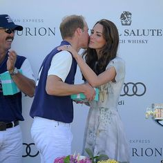 Prince George's parents shared a rare, public kiss in Santa Barbara, California during their 2012 visit to California. Kate congratulated her husband with a peck on the cheek after he played in the Audi Polo Challenge.