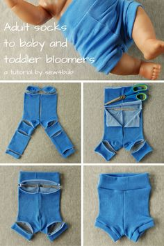 RE-PIN and then CLICK HERE for the full tutorial http://sew4bub.com/2015/10/26/socks-to-bloomers-the-sequel-to-5-min-baby-n-toddler-leggings-tutorial/