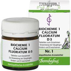 BIOCHEMIE 1 Calcium fluoratum D 3 Tabletten:   Packungsinhalt: 80 St Tabletten PZN: 04324596 Hersteller: Bombastus-Werke AG Preis: 1,97…