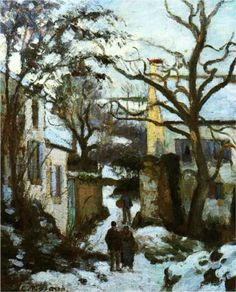 The Road to L'Hermitage in Snow - Camille Pissarro