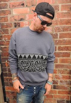 Grey Tribal panel Sweatshirt