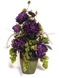 "FREE SHIPPING Tuscan Silk Floral Arrangement Purple Sage Green in Ombre Stoneware Ceramic Vase XL 26""h x 13"""