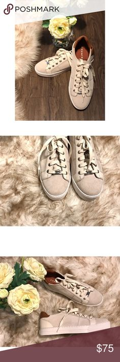 ✨ COACH SNEAKERS ✨ Authentic Coach Paddy Suede and Leather Sneakers *New Without Box* Classic Pair   Size 9B  Horse and Carriage Hardware   White Lace and Rubber Sole   Color • Chalk/Saddle 💫 Will Consider Reasonable Offers Coach Shoes Sneakers
