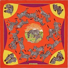 Carré 70 Hermès | Les Zèbres by Robert Dallet  HISTOIRE DU DESSIN : Hôtes des savanes d'Afrique de l'Est et du Sud, les zèbres sont de bien singuliers animaux. Très proches des chevaux, ils n'ont pourtant jamais été domestiqués. Leur pelage bicolore les rend visibles certes, mais lorsqu'ils courent en troupeau, leurs rayures créent un effet d'optique troublant leurs prédateurs et les protégeant de ces derniers. Ils paraissent tous semblables, mais chacun d'entre eux se distingue par le…