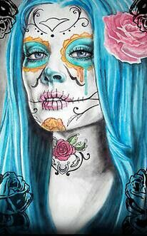 ..luv the blue hair and the pink rose