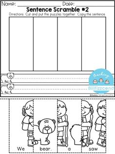 FREE Sentence Building for preschool and kindergarten These sentence building set was made with a preschooler in mind. These are a great way to practice fine motor skill. Students get to cut the puzzles and put the puzzles together, students also get a f