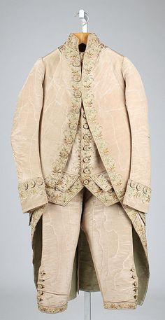 Suit  Date:     ca. 1780 Culture:     British Medium:     silk Dimensions:     Length at CB (a): 41 1/2 in. (105.4 cm) Length at CB (b): 24 ... Accession Number: C.I.60.5a–c