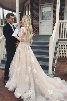 2435e6e67353 A-line Appliques Champagne Bridal Gown with Sheer Long Sleeves vestido de  novia