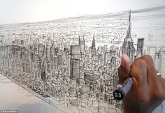 Artist Stephen Wiltshire draws spellbinding 18ft picture of New York from memory… after a 20-minute helicopter ride over city