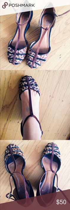 Black & Leopard high heel sandals Black and leopard suede high heels size 9 Schultz Shoes Heels