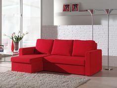 Canapé d'angle convertible en microfibre rouge FIBU, avec coffre de rangement