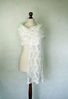 Wedding Scarf Hand Knit Shawl White By KnitwearFactory 10800