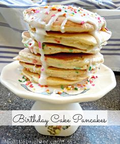 Funfetti Birthday Cake Pancakes with frosting & sprinkles // Life a Little Brighter