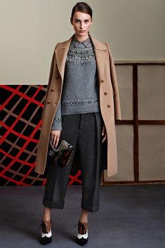 Love the charcoal grey with the lighter grey, mix of textures and nude coat to inject another colour, but still keeping it neutral tones. Gucci Pre-Fall 2015 - Collection - Gallery - Style.com