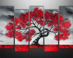 Abstrakte Malerei, Baum, Landschaftsmalerei, große, Wand, Wand-Dekor, Kunst von Gabriela, schwarz-weiß-rot, auf Bestellung