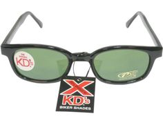 d23ec709453de X KD Big Sunglasses Original Harley Biker Shades Black Green 1126.  Lightweight. Acetate frame