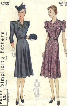 This vintage Simplicity sewing pattern was created in 1939.  It makes a one piece dress with a scalloped yoke and an 8 piece skirt.  Size: Bust