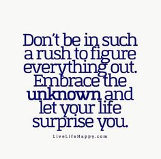 Don't be in such a rush to figure everything out. Embrace the unknown and let your life surprise you.