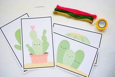 Free printable - Easy DIY Cactus Stitching Cards for Kids