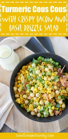 Turmeric Cous Cous Salad with Crispy Bacon and Basil Drizzle Salad | Sweet Caramel Sunday -