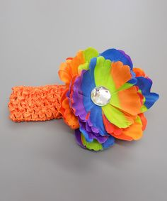Take a look at this Orange Tie-Dye Flower Stone Headband by Klassy Kouture on #zulily today!