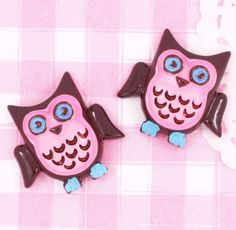 6 x Cute Owl Bird Brown & Pink Flat Back Cabochons