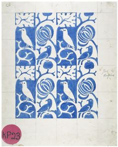 Textile design | Charles Francis Annesley Voysey | V&A Search the Collections Blue and White