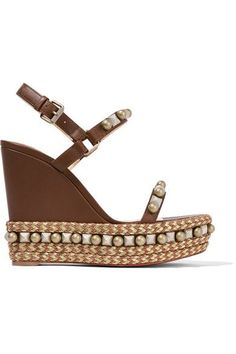 Christian Louboutin - Cataconico 120 Embellished Leather Wedge Sandals - Brown - IT