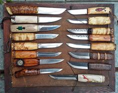UNIQUE Collection of 16 Handmade Puukko Knives with 9 Leather