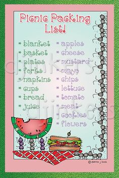 This cute picnic packing list was made using our June Whimzee clip art and DJ Squirrely font.    picnic list, picnic clip art, cute font, ants, border, clipart, spring