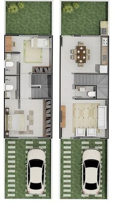 Pinterest: @claudiagabg | Townhouse 2 pisos 2 cuartos