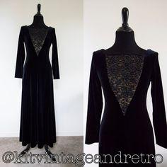 Jeffrey & Dara Evenings by Tom Barra black evening dress $40  #kltvr  #vintagedress #1980s #80sfashion #vintagefashion #lacedress #lace #1980s
