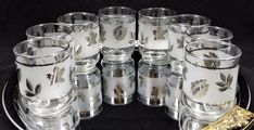 Libbey Silver Foilage Juice Glasses Set of 8 5 by ShellyisVintage