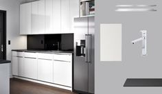 Ife ever I can afford to re layout my kitchen (now that I live in a fishbowl), this would be a possibility! AKURUM kitchen with ABSTRAKT white high-gloss doors and PRÄGEL black mineral effect countertop