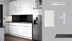 AKURUM kitchen with ABSTRAKT white high-gloss doors and PRÄGEL black mineral effect countertop