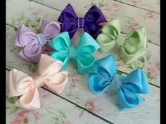 How to make a butterfly from a ribbon 🎀 Bows 🎀 for hair - Free Online Videos Best Movies TV shows - Faceclips Ribbon Hair Bows, Diy Hair Bows, Diy Bow, Ribbon Flower Tutorial, Bow Tutorial, Ribbon Art, Ribbon Crafts, Bow Template, How To Make Bows