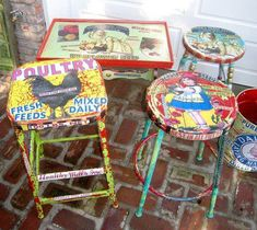 very colorful painted/decoupage vintage furniture. Fun, very colorful painted/decoupage vintage furniture.Fun, very colorful painted/decoupage vintage furniture. Decoupage Furniture, Hand Painted Furniture, Funky Furniture, Repurposed Furniture, Furniture Projects, Furniture Makeover, Vintage Furniture, Bar Furniture, Furniture Design