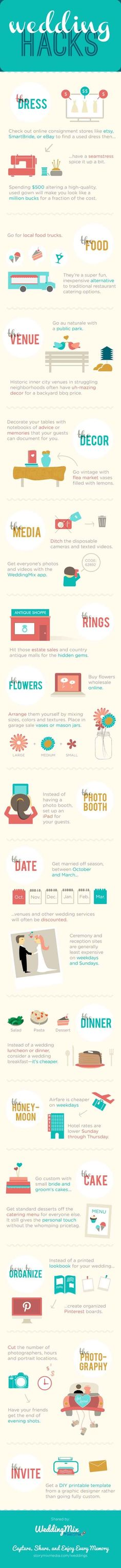 DIY Wedding Ideas | Cool Hacks for DIY Weddings on a Budget - cheap ideas and budget tips [ Infographic ] save money on wedding, frugal wedding ideas #wedding #frugal