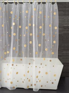 This would be perfect for the guest bathroom! Moondance Shower Curtain, Shades of Gold - contemporary - shower curtains - Kontextür Polka Dot Curtains, Diy Curtains, Shower Curtains, Window Curtains, Kate Spade Shower Curtain, Gold Shower Curtain, Curtains Walmart, Window Rods, Gold Curtains