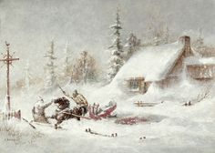 The Blizzard - Cornelius Krieghoff Year Without A Summer, Canadian Painters, Big Chill, Virtual Museum, Cornelius, Interesting History, Winter Landscape, Artists Like, First Nations