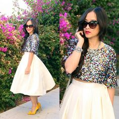 Kt Rcollection Cream Full Midi Skirt, Urban Outfitters Sequin Crop Top